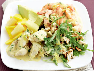 Chicken Prawn Avocado Salad - Chicken, Prawn and Avocado Salad