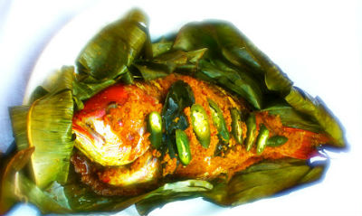 Kerala style Fish in Banana Leaves