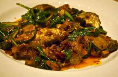 Fish cooked with Kashmiri Spinach