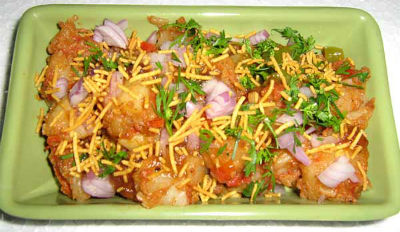 Potato Chaat with Green Chutney