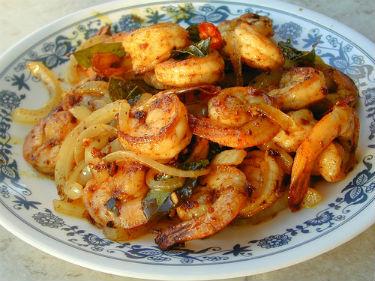 Prawns with Onions