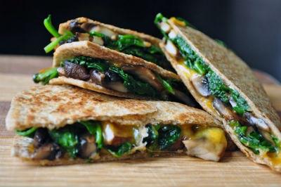 Spinach and Mushroom Quesadillas