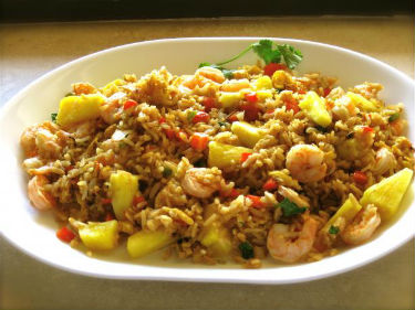 Thai Shrimp Fried Rice with Pineapple