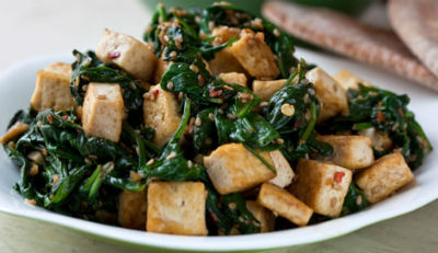 Tofu Spinach Stir Fry - Tofu and Spinach Stir-Fry