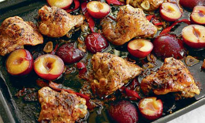 Chicken served with plum sauce