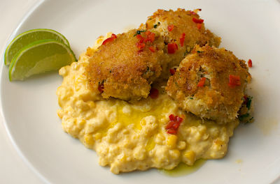 Crab Cakes with Corn Puree