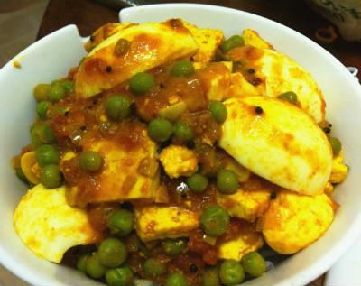 egg paneer peas kurma - Paneer Egg Peas Kurma