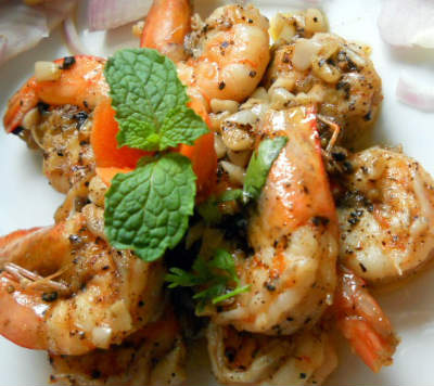 Garlic Pepper Prawns