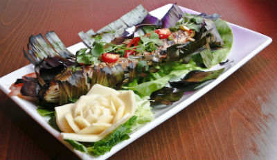 grilled fish in banana leaf - Grilled Fish Wrapped in Banana Leaf
