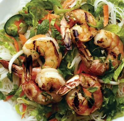 Rice Noodles and Shrimp Salad