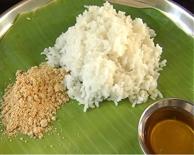 Paruppu Podi with Rice and Ghee