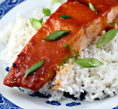 Salmon with Honey and Sriracha Sauce