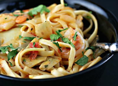 Shrimp and Roasted Tomato Pasta
