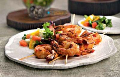 tandoori skewered shrimp - Jhinga Kebab