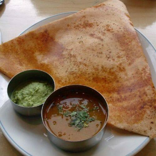 Masala Dosa with Sambar and Chutney
