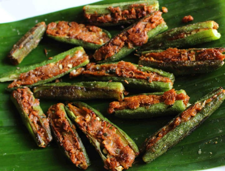 Stuffed Bhindi - Stuffed Okra - Stuffed Ladies Finger
