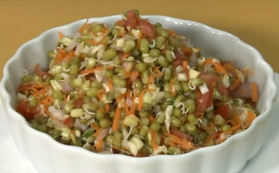 sprouted moong salad - Sprouted Moong Salad