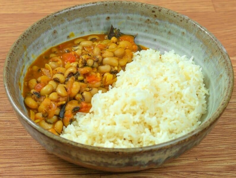 Lobia (Black-Eyed Peas Curry) with Ghee Rice