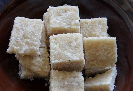 rava coconut burfi - Rava Coconut Burfi