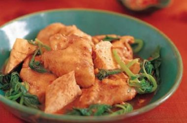 Braised Chicken Wings 380x250 - Braised Chicken Wings with Tofu and Spinach