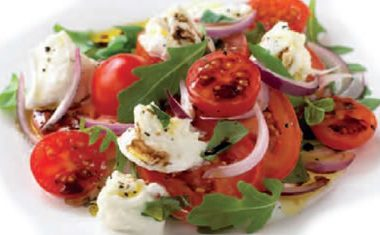 Tomato Red Onion Mozzarella Salad 380x235 - Chicken with Noodles and Basil