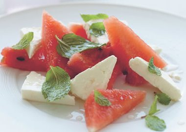 Watermelon Cheese Salad 380x271 - Exotic Watermelon and Cheese Salad