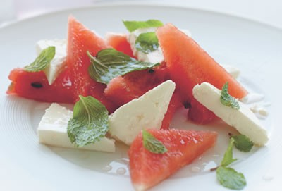 Exotic Watermelon and Cheese Salad