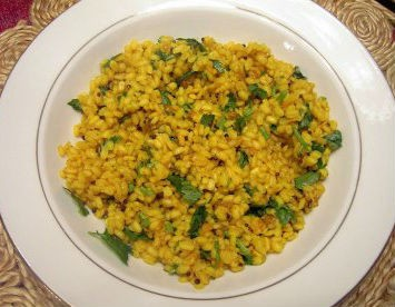 Yellow Gram Rice - Dal Dhokadi (Spicy Dal Gravy)
