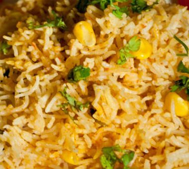 corn biryani 380x341 - Corn and Saffron Rice