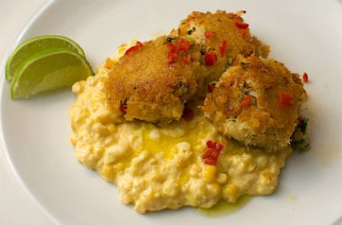 crab cakes corn puree 380x250 - Crab Cakes with Corn Puree