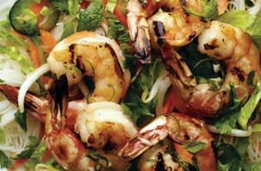 noodle shrimp salad 380x250 - Rice Noodles and Shrimp Salad