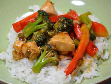 orange chicken vegetable stir fry 380x290 - Spanish Chicken Rice