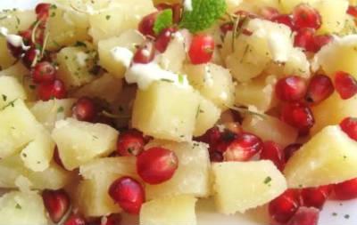 potato pomegranate salad - Anarkali Salad
