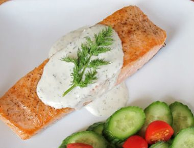 salmon dill sauce 380x290 - Chicken with Grilled Zucchini