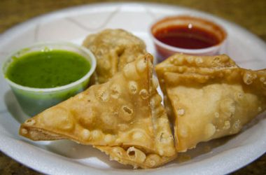 samosa with sauce 380x250 - Spinach and Moong Dal Samosa