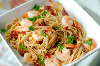 shrimp pasta 380x250 - Pasta with Shrimp and Sun-Dried Tomatoes