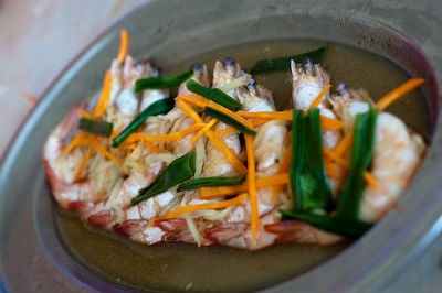 Steamed Prawn with Ginger