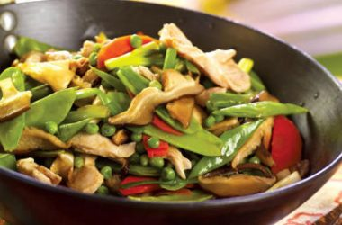 stir fried chicken mushrooms 380x250 - Tamarind Stir-Fried Chicken with Mushrooms