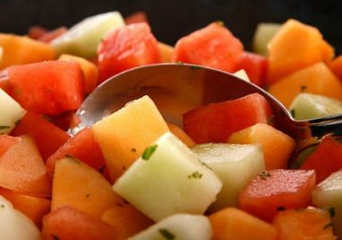 tangy melon salad 380x267 - Shrimp Salad with Creamy Dressing