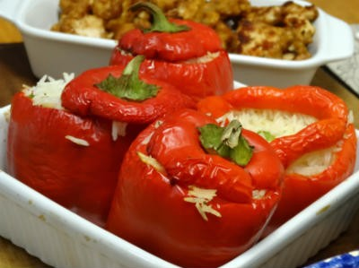 rice stuffed capsicums - Rice stuffed Capsicums