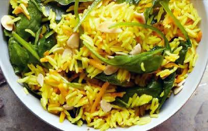 Carrot and Spinach Pulao