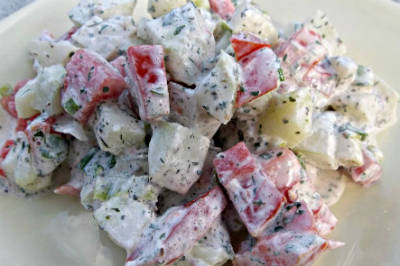 Creamy Cucumber and Capsicum Salad