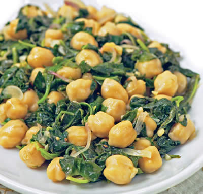 spinach chickpeas - Spinach with Chickpeas