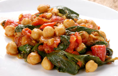 Chickpeas, Capsicum and Spinach Curry
