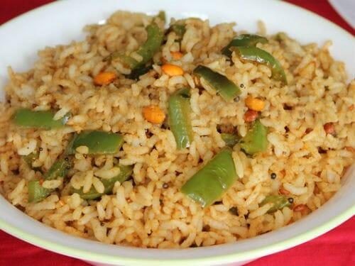 capsicum rice - Maharashtrian style Capsicum Rice