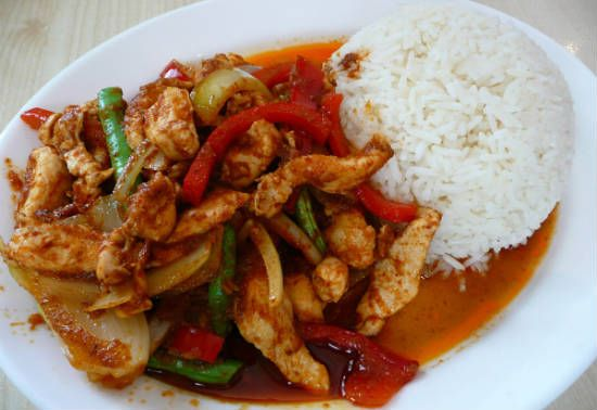 chilli chicken with rice - Chilli Soya Chicken