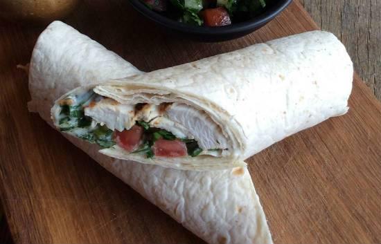 Lebanese style Chicken Wraps