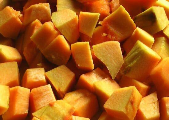 red pumpkin pieces - Red Pumpkin Thuvaiyal