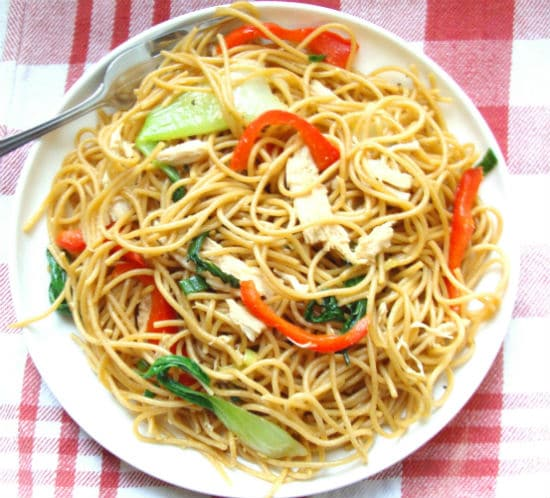 chicken fry stir noodle noodles plain ingredients