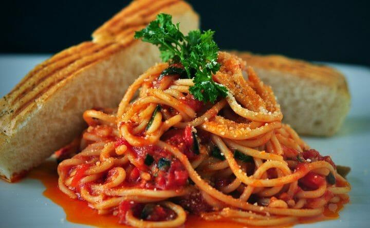 Mediterranean Salsa in Spaghetti